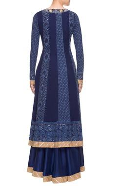 Navy blue chikankari skirt set