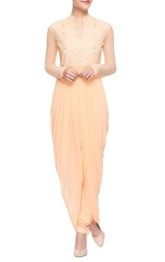 Pastel orange cowl draped kurta set