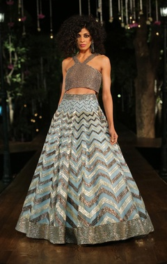 Pastel blue embellished lehenga skirt