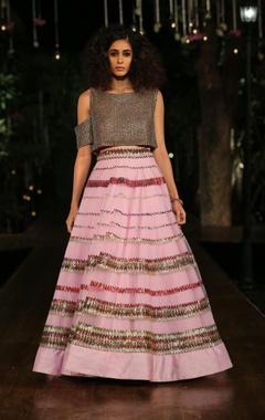 Baby pink embellished lehenga skirt