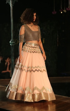 Blush pink embellished lehenga skirt