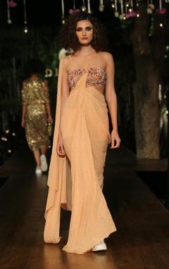 peach embellished sari gown