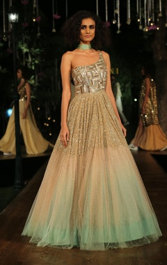Peach & green ombre gown