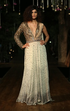 antique gold & ivory anarkali gown