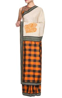 orange & black checkered sari