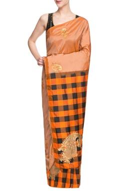 Black & orange embroidered sari
