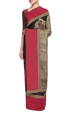 red & black sari with gold dori work