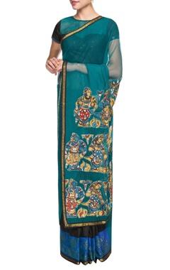 Teal blue & black embellished sari