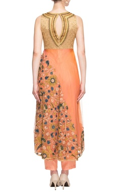 Orange & gold embroidered kurta set