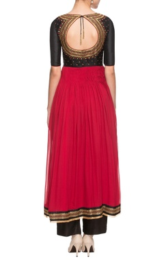 Red & black embroidered palazzo set
