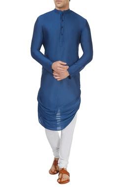 Cobalt blue draped kurta