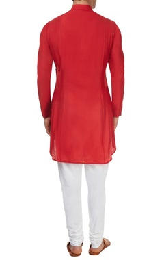Red pleated asymmetric kurta