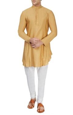 beige pleated asymmetric kurta