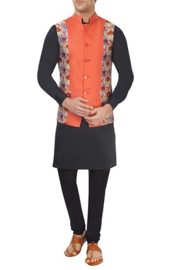 Orange printed bandi jacket