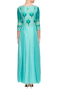 blue embellished kurta with cut-out details