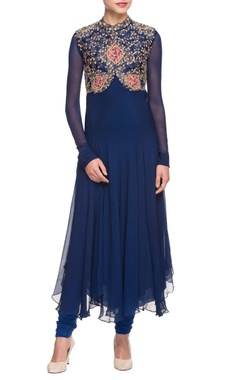 Navy blue embroidered kurta sets