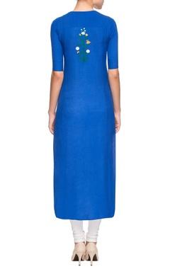 Royal blue embroidered kurta