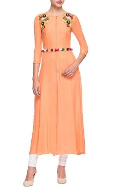 Orange embroidered kurta