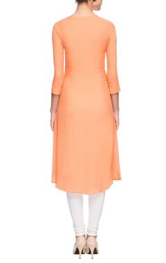 Orange 3d net embroidered kurta