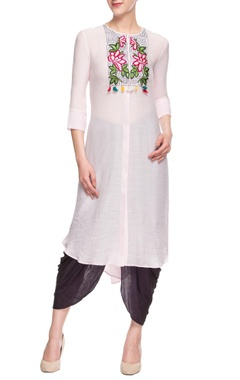Baby pink embroidered dhoti set