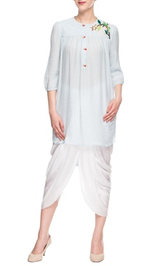 blue embroidered dhoti set