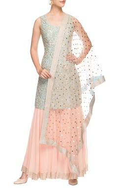 Blue & peach sharara