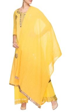 Yellow mirror work kurta set