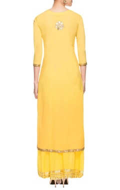 yellow mirror work kurta set