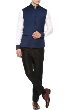 Manish Nagdeo - Men Blue Nehru jacket
