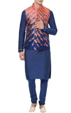 Blue kurta set with Nehru jacket