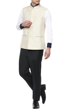 Manish Nagdeo - Men Cream cotton jute Nehru jacket