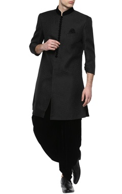 Black brocade sherwani with dhoti pants