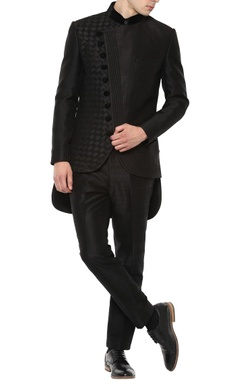 Manish Nagdeo - Men Black angrakha bandhgala suit