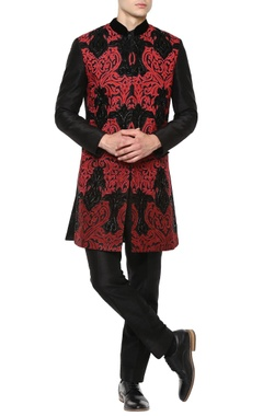 Manish Nagdeo - Men Red sherwani with black trousers