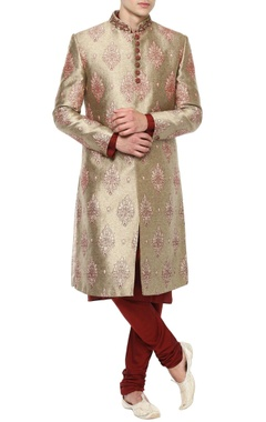 Manish Nagdeo - Men Beige & Maroon sherwani set