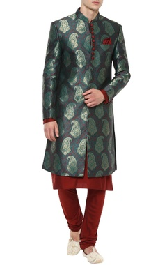 Manish Nagdeo - Men Green brocade sherwani & maroon cotton silk kurta-pyjama set
