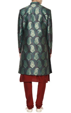Green brocade sherwani & maroon cotton silk kurta-pyjama set
