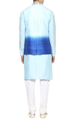 Sky blue kurta set with Nehru jacket