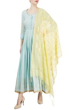 Powder blue anarkali with yellow dupatta