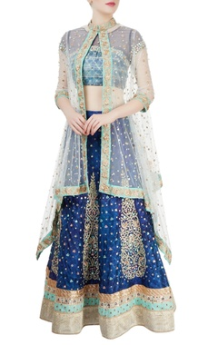 Blue mirror work lehenga set & white cape jacket