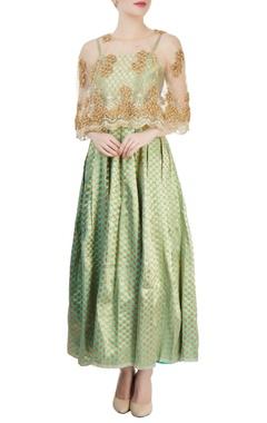sea green polka dress with cape