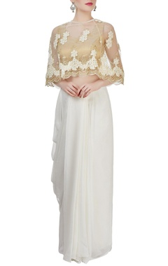 Light gold blouse with white floral cape