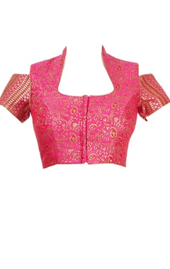 Fuchsia pink cold shoulder blouse