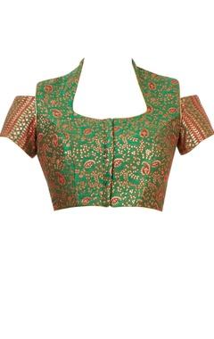 Forest green cold shoulder blouse