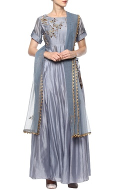 Blueish grey embroidered lehenga set