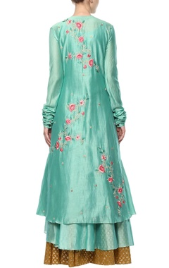 Teal blue embroidered kurta set