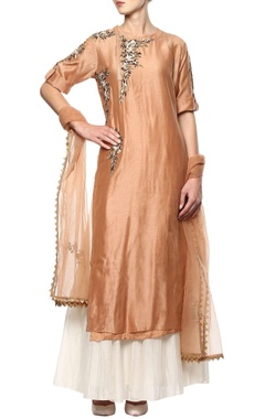 Brown embroidered suit set