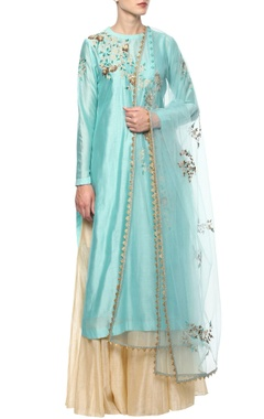 Blue embroidered lehenga set