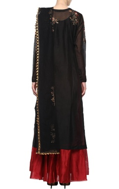 black embroidered suit set