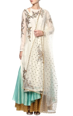 Joy Mitra White embroidered kurta set